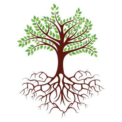 Tree with deep clip. Roots clipart