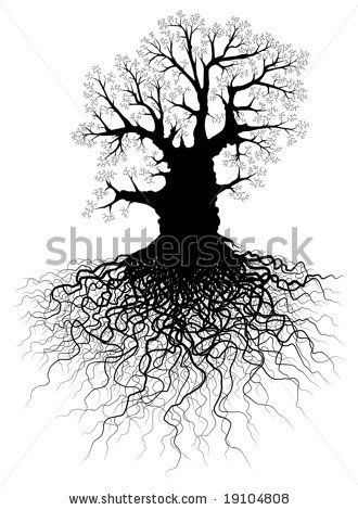 Roots clipart root system. Tattoo clip art tree