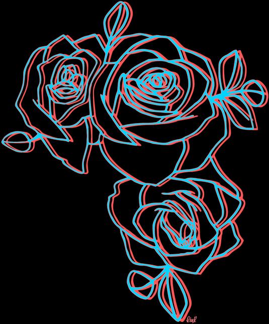 Rose clipart aesthetic. Flowers rosas neon sticker