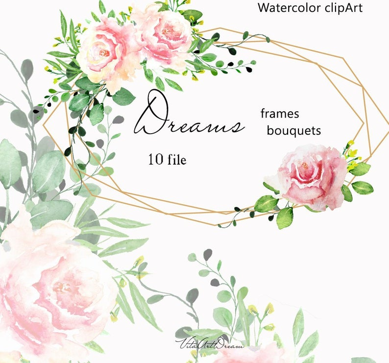 Rose clipart baby. Watercolor blush flower frame