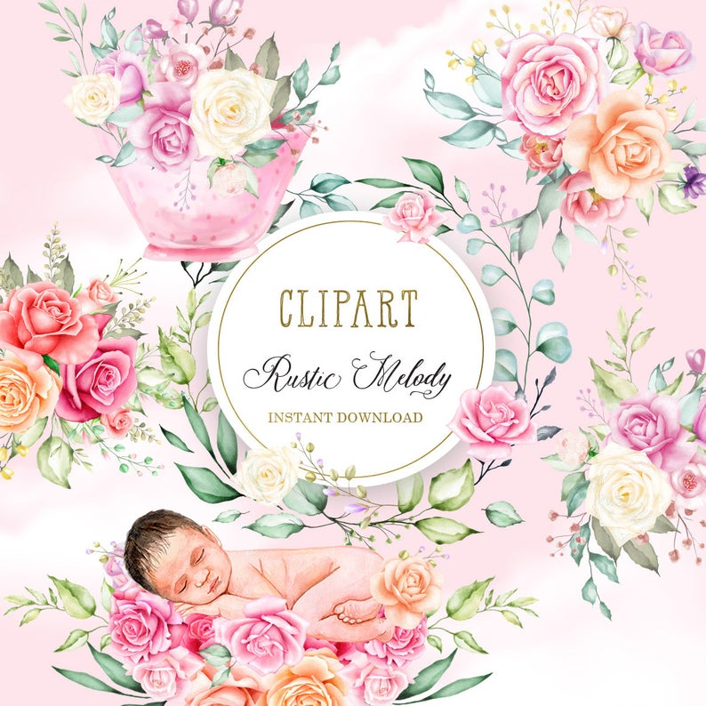 Rose clipart baby. Newborn nest floral roses