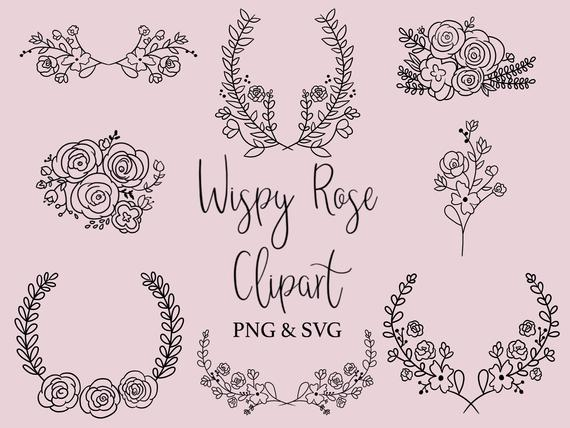 Rose clipart doodle. Wispy hand drawn wreaths