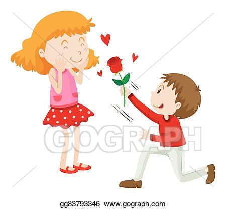 Vector art man to. Rose clipart giving