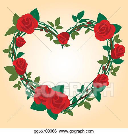 Rose clipart shape. Vector illustration frame in