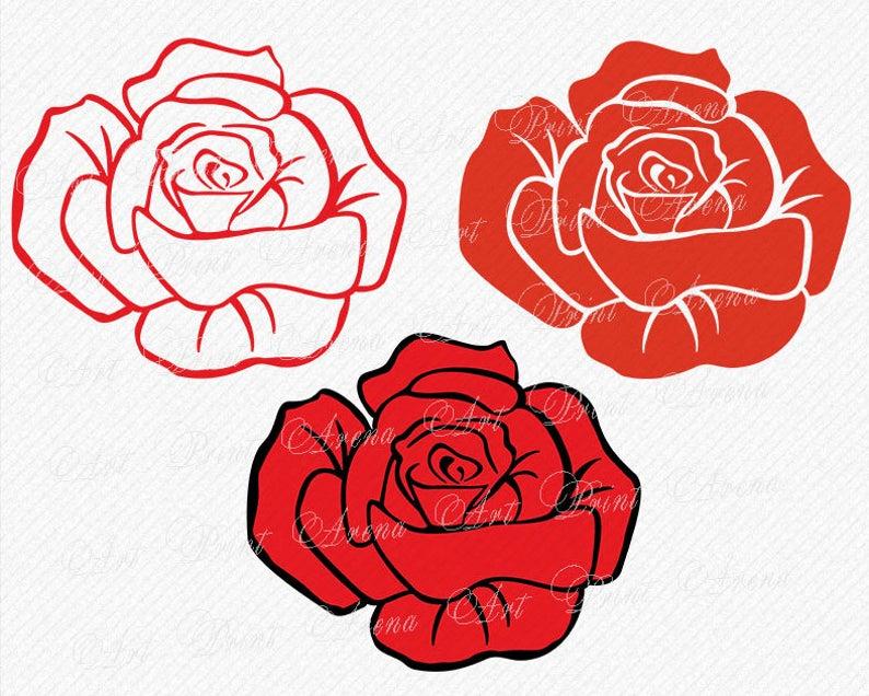Flower svg floral cutting. Rose clipart shape