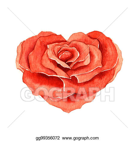 Rose clipart shape. Stock illustration in the