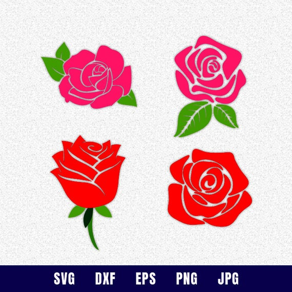 Rose clipart shape. Svg dxf vector silhouette