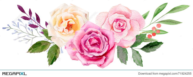 Hand painted watercolor mockup. Rose clipart template