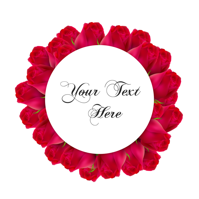 Roses vector png. Realistic rose wreath and