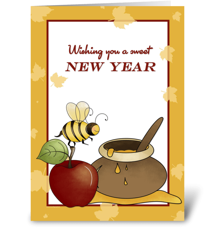Bee and send this. Rosh hashanah clipart apple honey