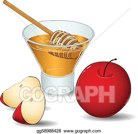 Clip art vector glass. Rosh hashanah clipart apple honey