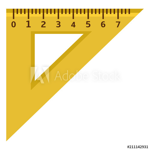 Ruler clipart triangle ruler. Vector flat icon yellow