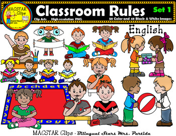 Classroom bundle english clips. Rules clipart