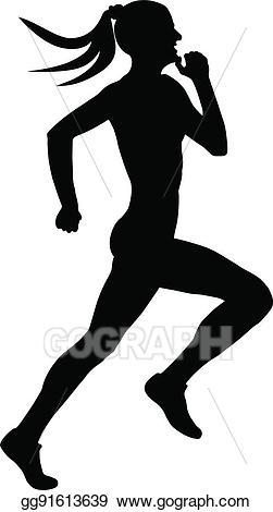 Runner clipart female runner. Vector stock black silhouette