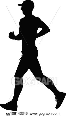 Runner clipart jogging. Vector art silhouette drawing