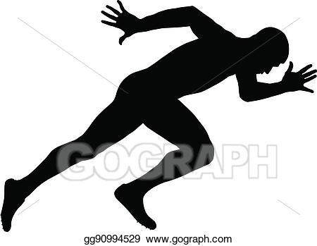 Eps vector muscular stock. Runner clipart sprinter