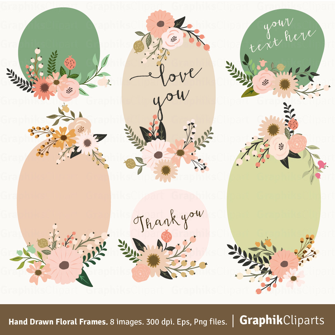 Hand drawn floral frames. Rustic clipart