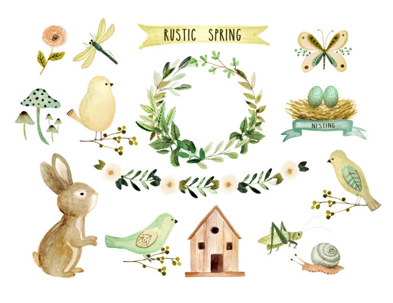 Floral spring baby . Rustic clipart