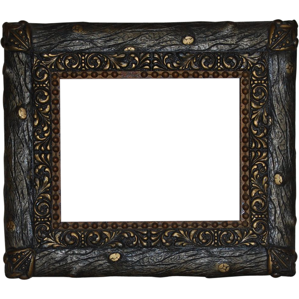 Faux bois and gesso. Rustic wood frame png