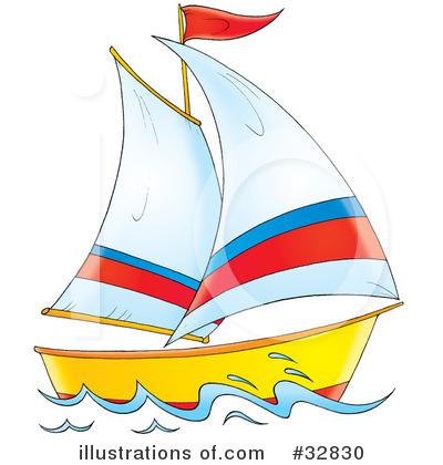 Illustration by alex bannykh. Sailboat clipart