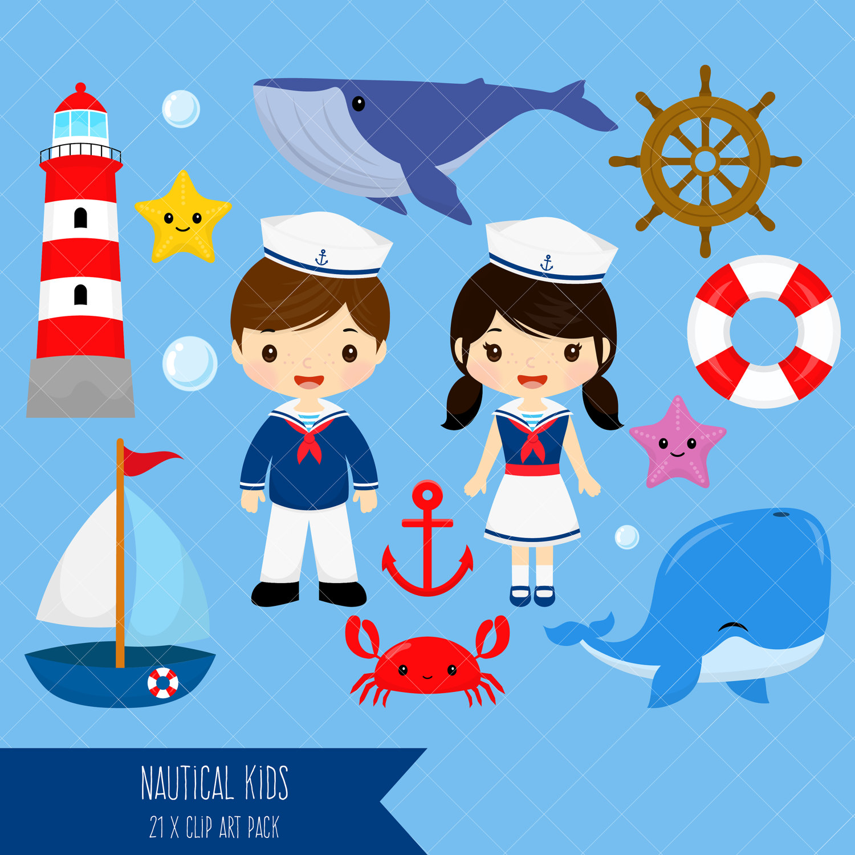 Nautical kids boy clip. Sailor clipart
