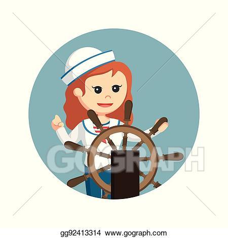 Vector illustration with ship. Sailor clipart female sailor