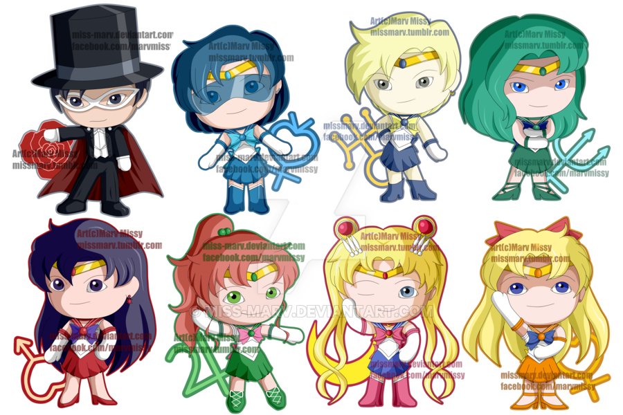 Sailor clipart group sailor. Moon chibis by miss