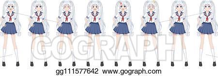 Sailor clipart sailor suit. Vector stock anime manga