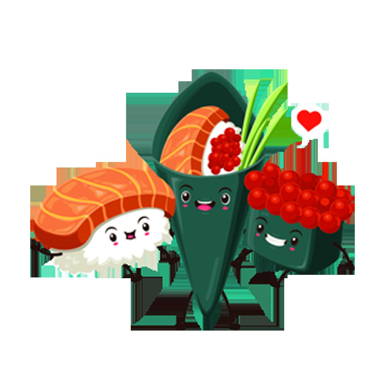 Japanese cuisine cartoon. Salmon clipart salmon sushi