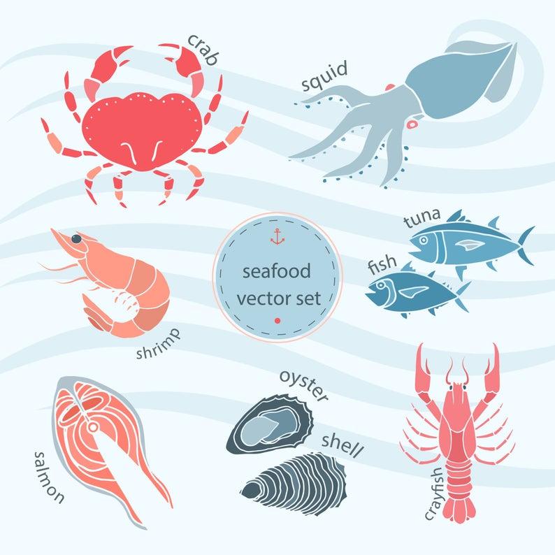 Salmon clipart shrimp. Seafood clip art set