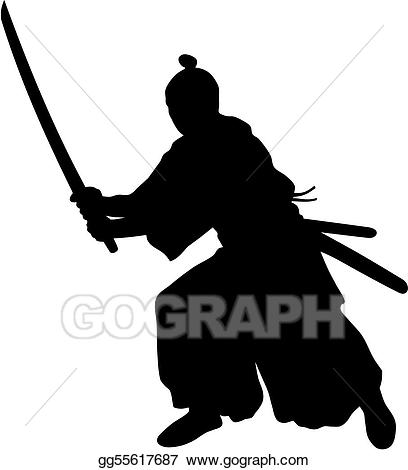 Vector illustration gg gograph. Samurai clipart