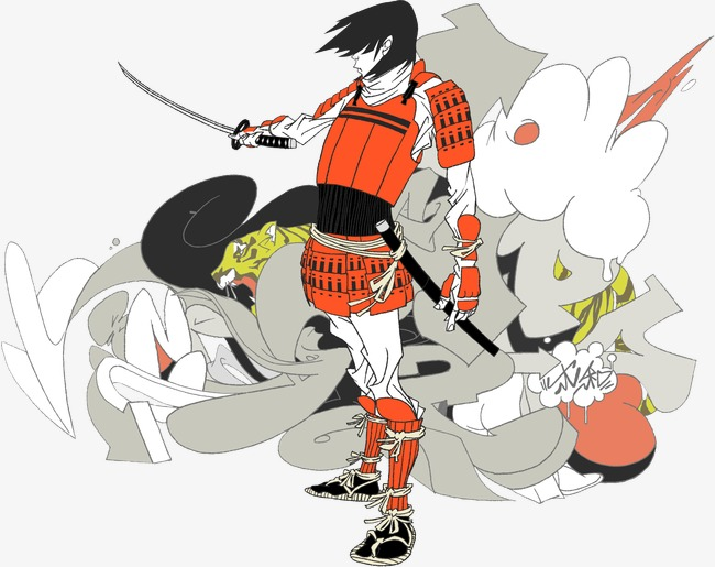 Samurai clipart. Japanese color japan bushido