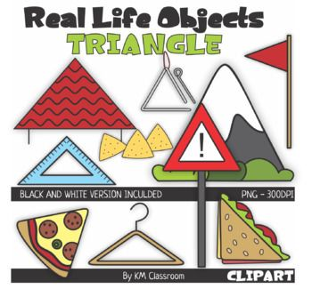 Triangular clipart teaching. Real life objects d