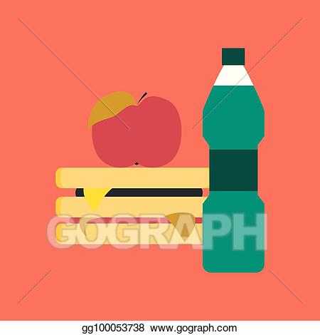 Vector stock flat icon. Sandwich clipart water