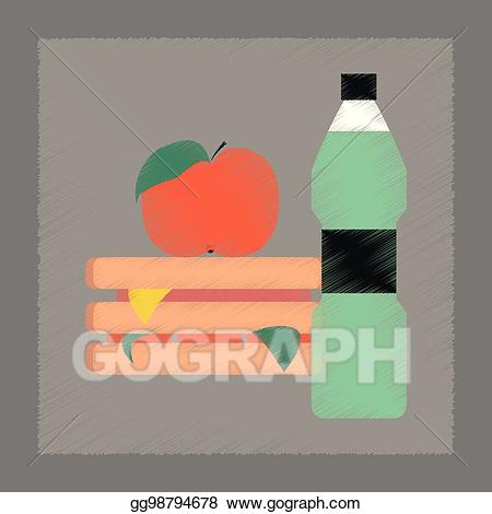 Sandwich clipart water. Vector flat shading style