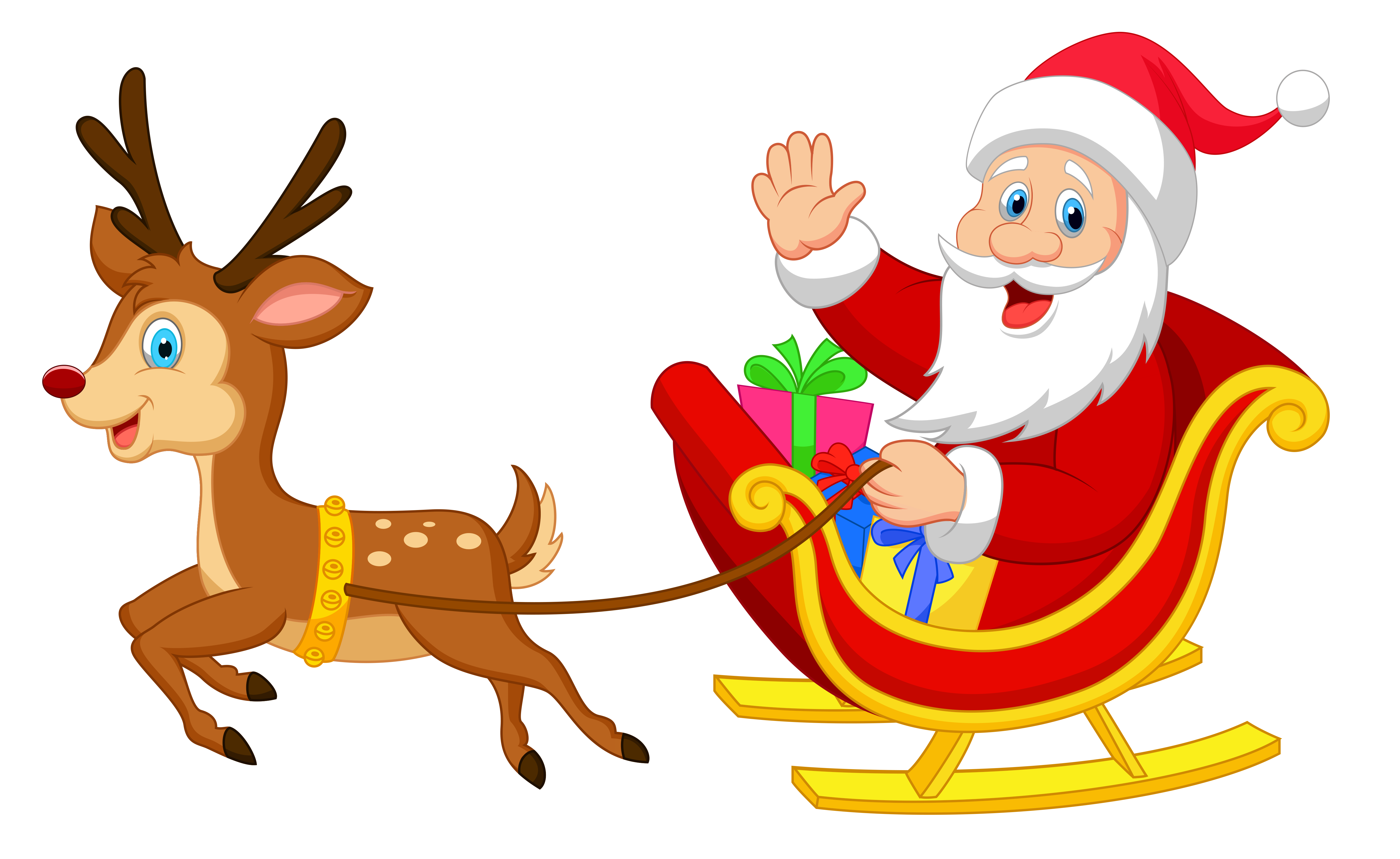 Transparent santa with rudolph. Clipart reindeer pretty