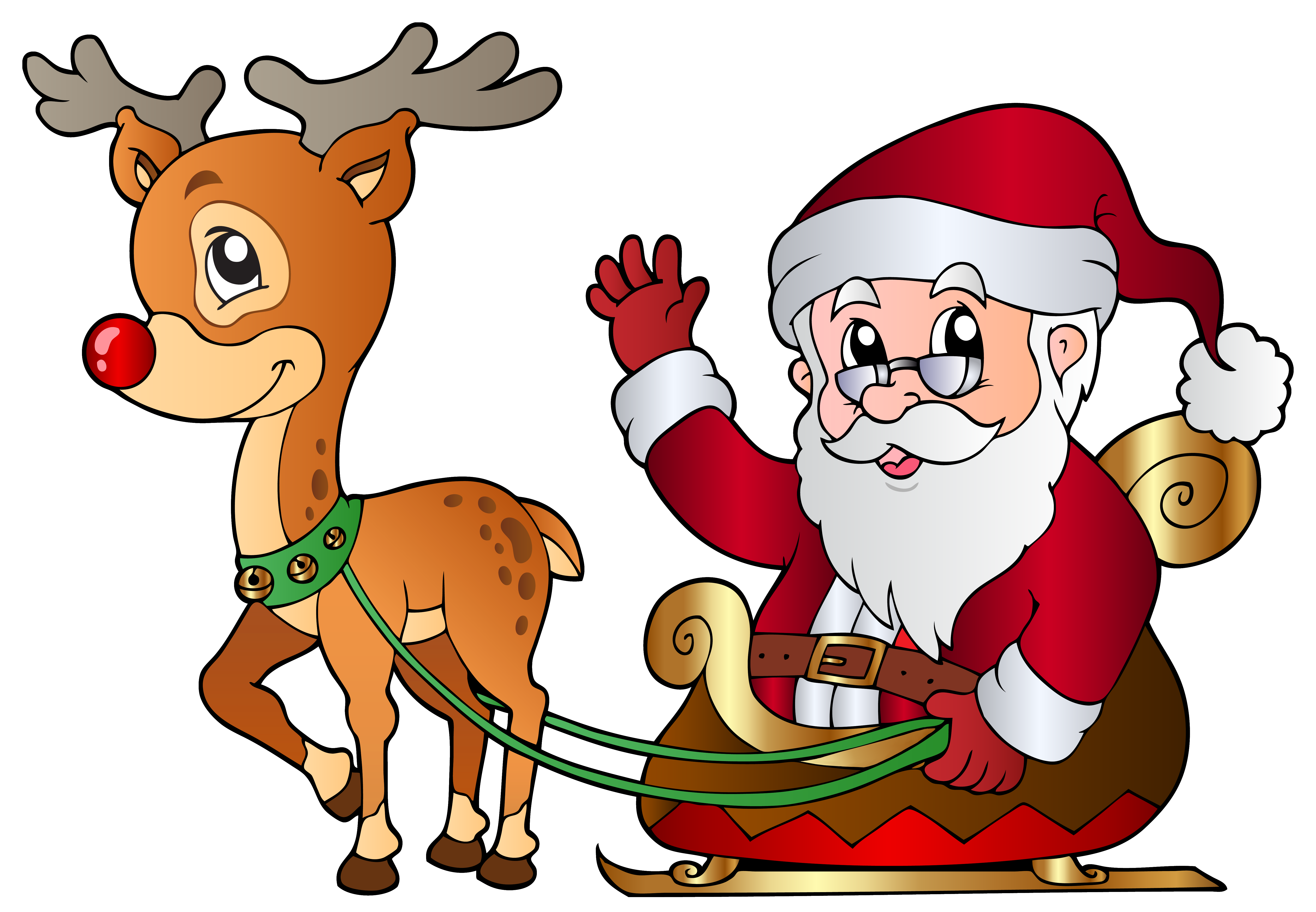And rudolph png image. Santa clipart