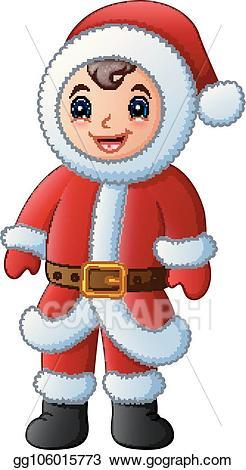 Santa clipart boy. Vector cartoon in red