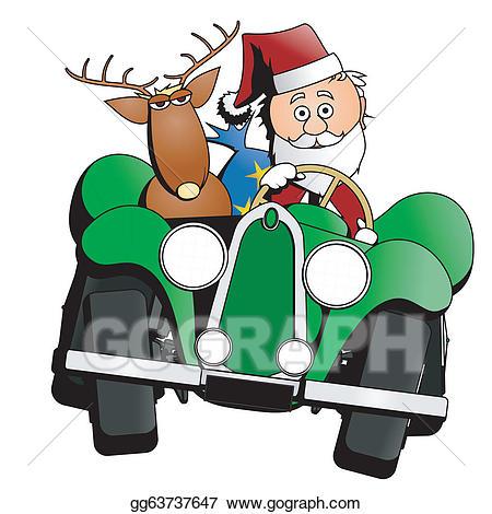 Santa clipart car. Vector illustration christmas eps