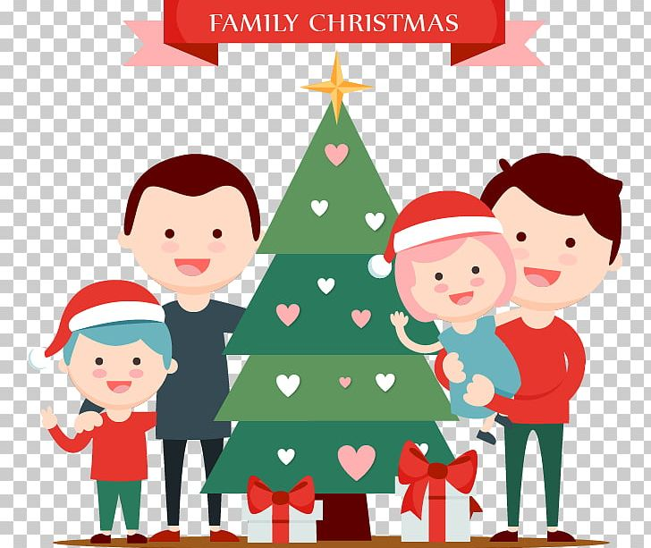 Santa clipart family. Christmas tree claus illustration
