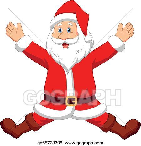 Eps illustration cartoon vector. Santa clipart happy