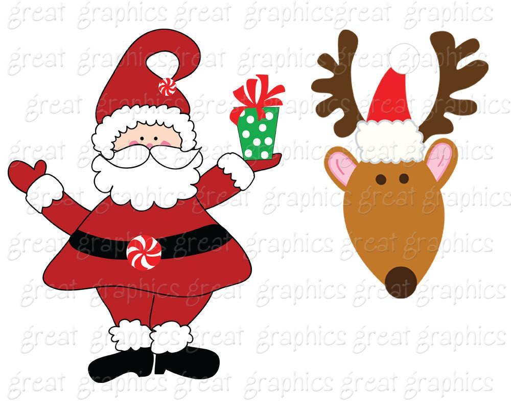 Santa clipart printable. Reindeer clip art christmas