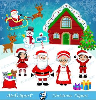 Santa clipart santa clause. Christmas digital mrs claus
