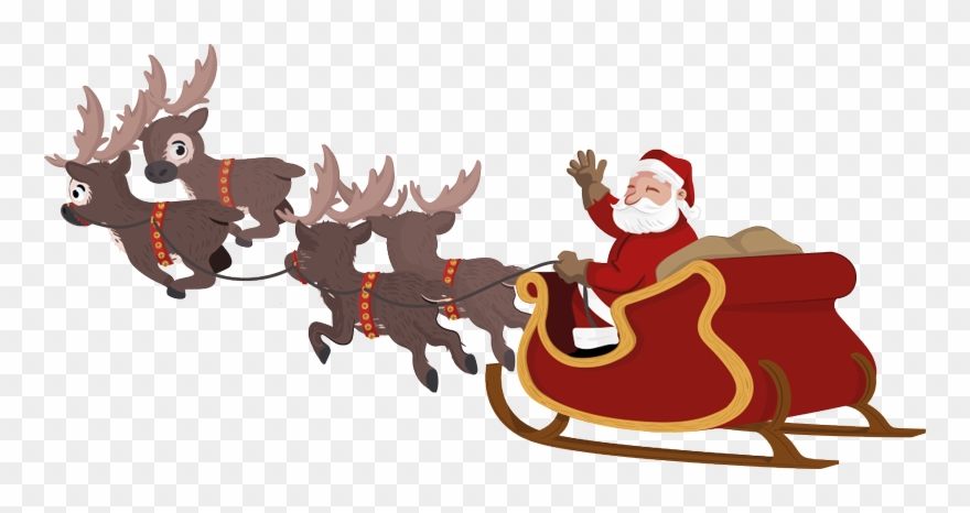 Sleigh clipart animated. Santa and transparent
