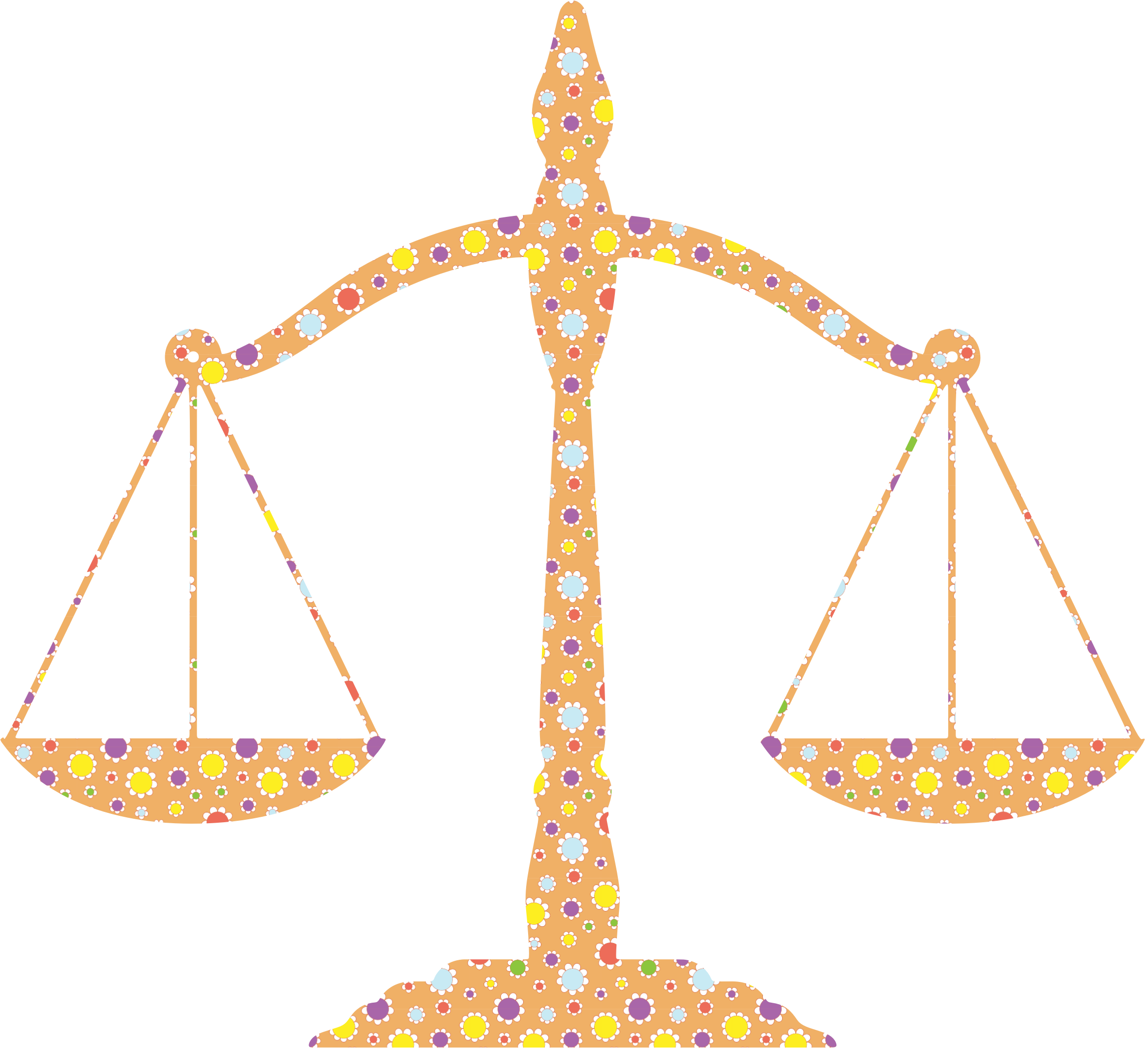 Weight clipart cute. Floral justice scales big