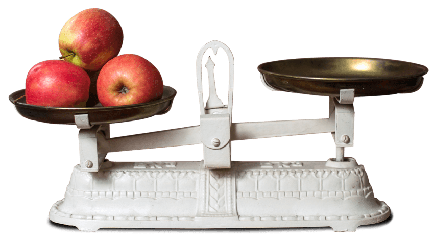Fresh apple in weight. Scale clipart fruit