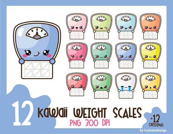 Weight clipart cute. Scale clip art kawaii