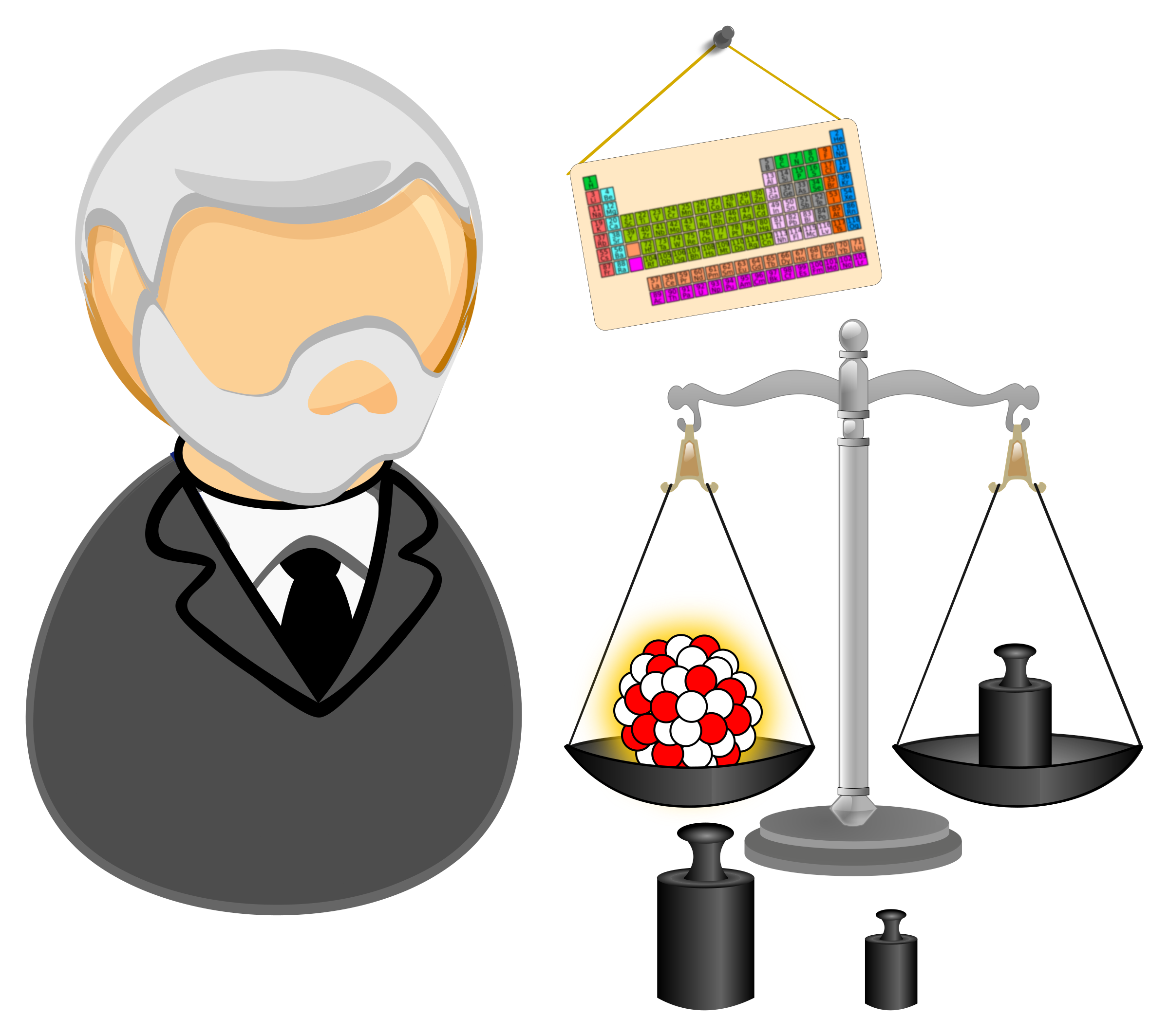Nuclear physicist measuring atomic. Weight clipart wieght