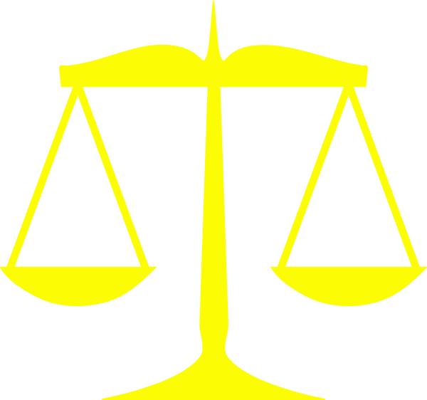 Yellow scales of justice. Scale clipart uneven