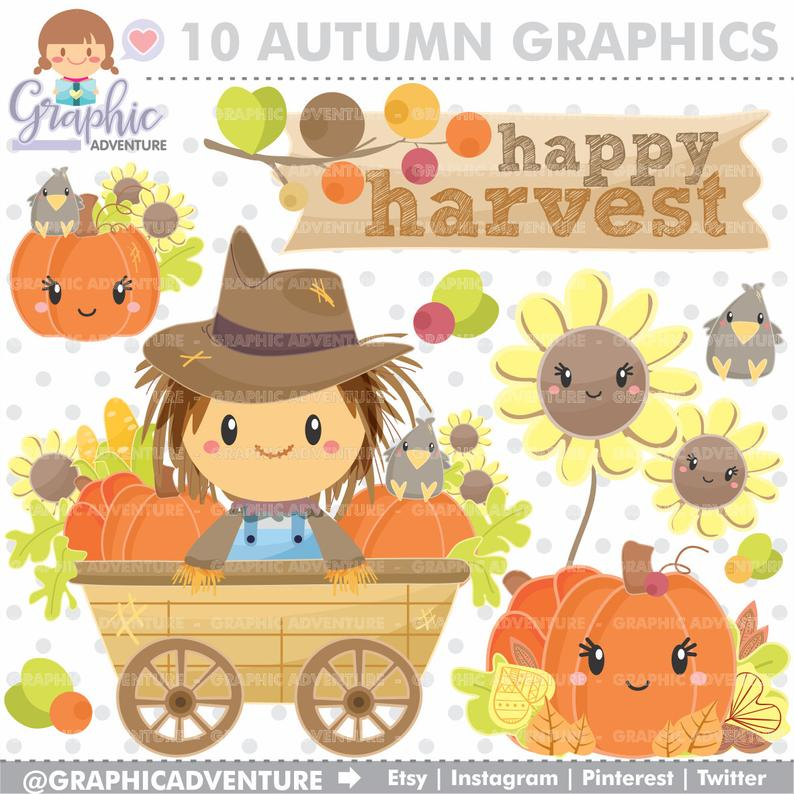 Scarecrow clipart autumn. Graphics commercial use harvest